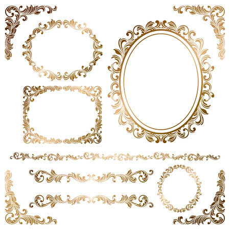Golden frames Stock Vector - 49930680