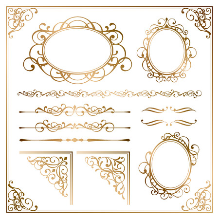 ornaments vector: Golden frames