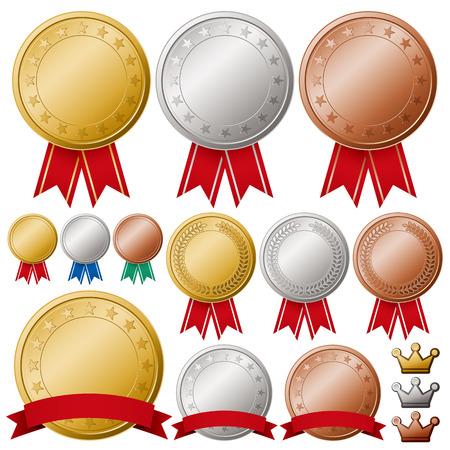 gold silver: Medals set Illustration