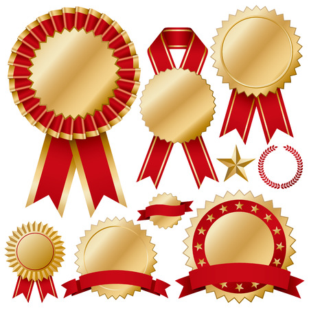 award ribbon rosette: Rosette set Illustration