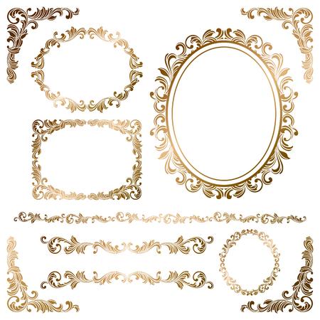Set di cornici in oro Archivio Fotografico - 50246103