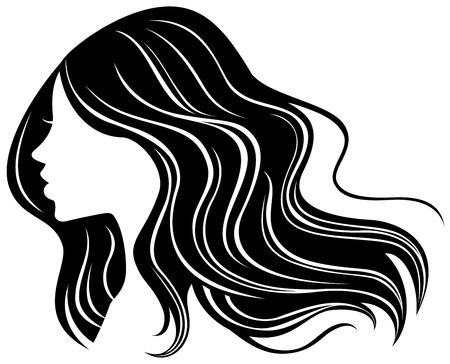 Vrouw gezicht silhouet met golvend haar Stock Illustratie