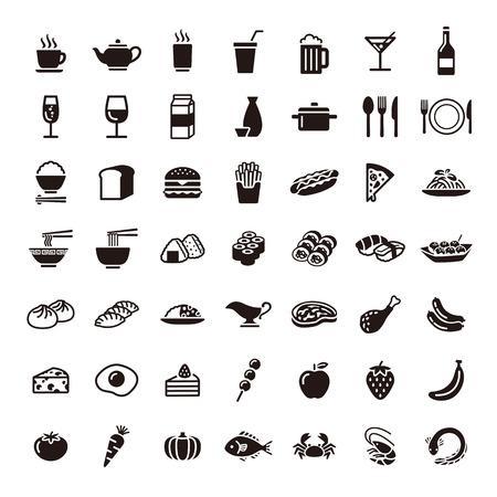 Conjunto de iconos de comida y bebida