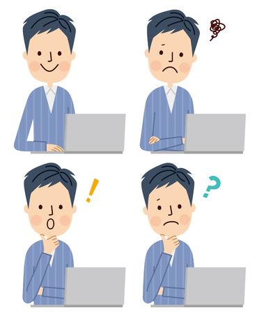 man using computer: Young man using laptop computer Illustration