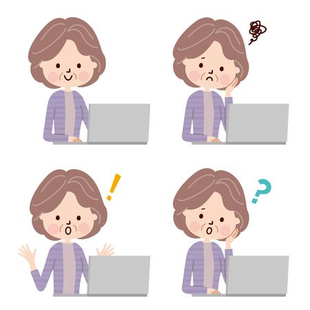 sorprendido: Mujer mayor que usa el ordenador portátil