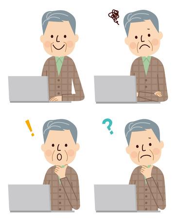 using laptop: Senior man  using laptop computer