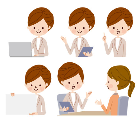 Business woman in various poses Stock Illustratie
