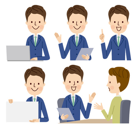 Business man in various poses Stock Illustratie