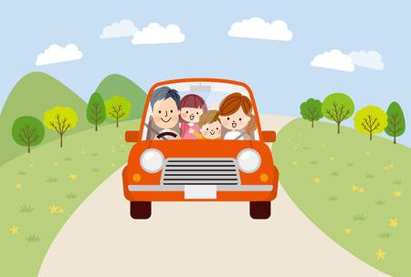 Voyage en famille dans la voiture Vecteurs