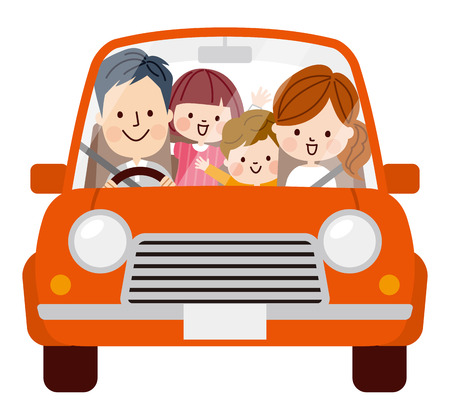 Family travel in the car 版權商用圖片 - 50903413
