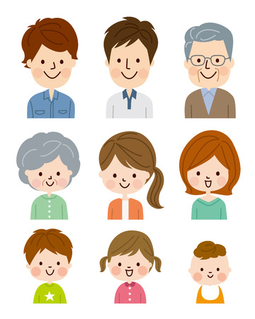 cartoon dad: People of different ages Illustration