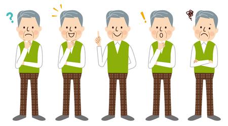 expresiones faciales: Senior hombre  Vectores