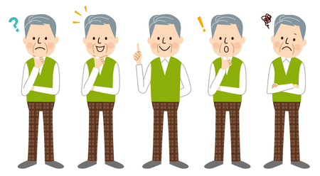 apprehension: Senior man Illustration
