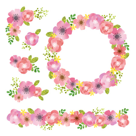 Watercolor flowers elements  イラスト・ベクター素材