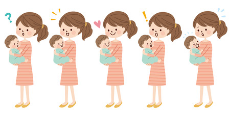 baby and mother: Mother and baby Illustration