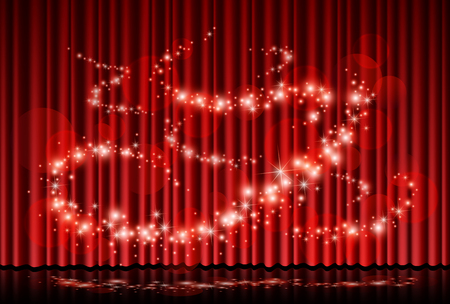 Red curtain with magic lights