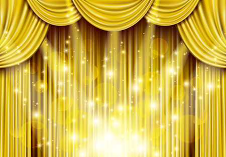 Golden curtain with spotlights Stock Illustratie