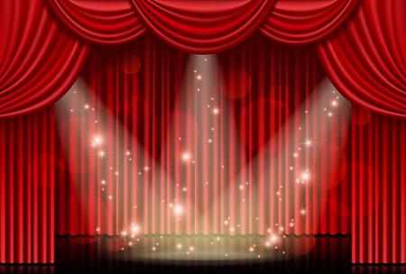 スポット ライトと赤いカーテン