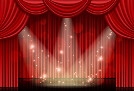 Red curtain with spotlights Stock Illustratie
