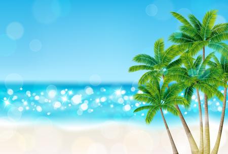 ビーチでヤシの木