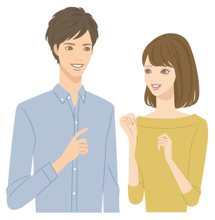 two point: Young couple talking