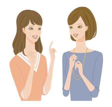 Two girls talking