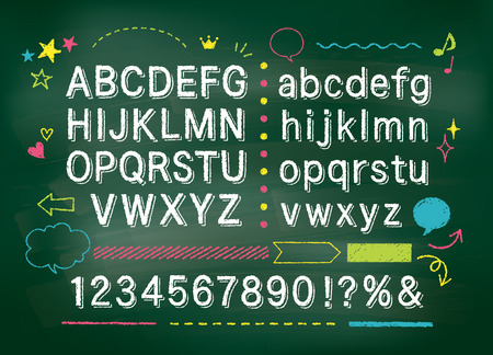 Chalkboard alphabet Stock Illustratie