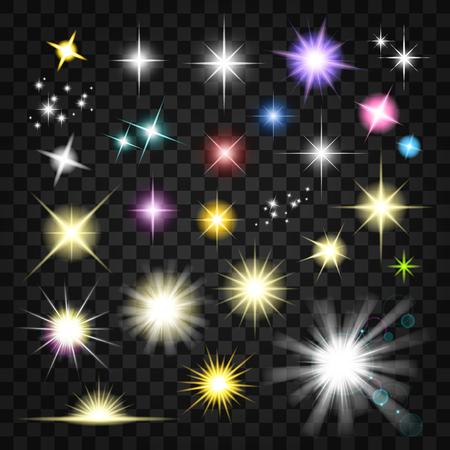Sparkling light effects set 向量圖像