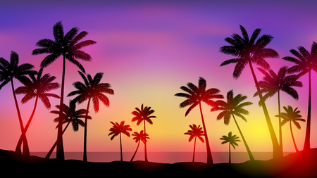 Palm trees at sunset Stock Illustratie