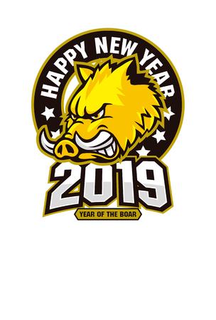 Japanese new year greeting card 2019