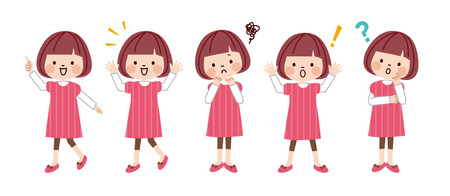 Girl with different emotions