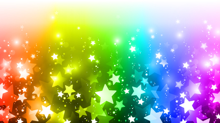 Rainbow background with colorful stars