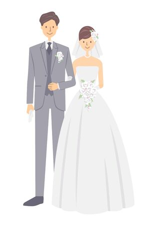 Bride and groom on white