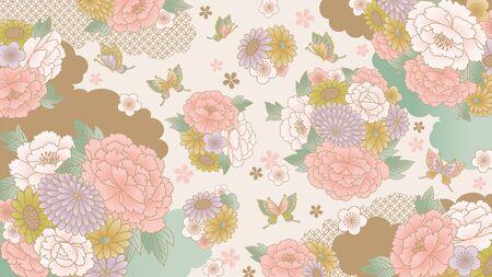 Japanese floral wallpaper 向量圖像