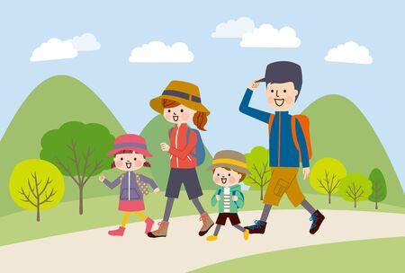 Family enjoying hike in the mountains Illustration