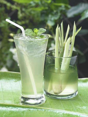 lemongrass: Lemongrass drink with the fresh lemongrass. Stock Photo