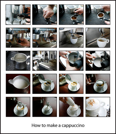 sequential: Set of sequential images showing how to make a cup of cappuccino coffee using an electric coffee machine from the coffee grinds to the delicious frothy hot cup garnished with cinnamon or cacao Stock Photo