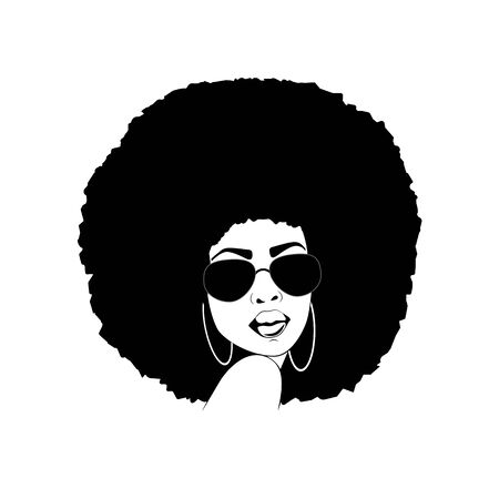 African American Lady with Afro Hairstyle Silhouette
