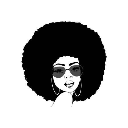 Foxy lady with afro hairstyle and sunglasses