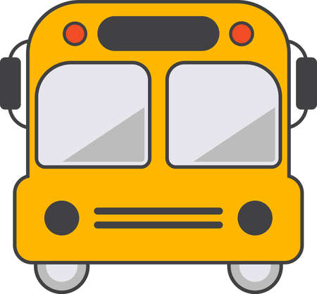 Colorful school bus icon