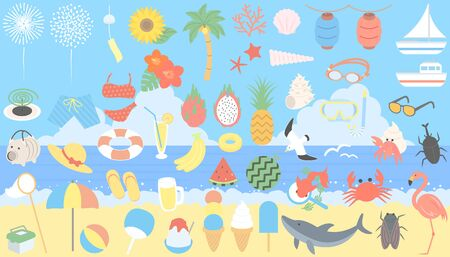 Various assorted illustrations symbolizing summer