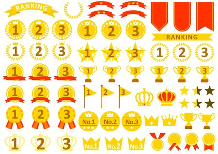Simple ranking icon set  イラスト・ベクター素材
