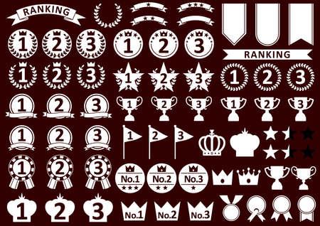 Black and white ranking icon set