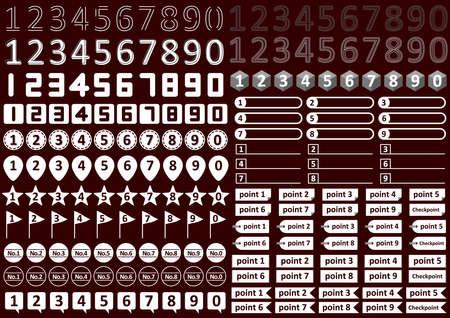 Monochrome numeric icon set
