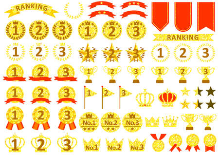 Metal ranking icon set of three colors