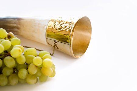 shofar: horn and vine in white