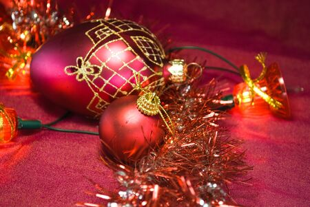spangled: christmas balls on a red background Stock Photo