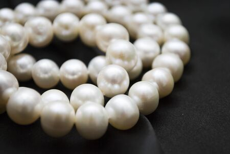 white pearls on a black background  photo