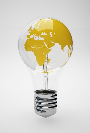 Light bulb with planet Earth  photo