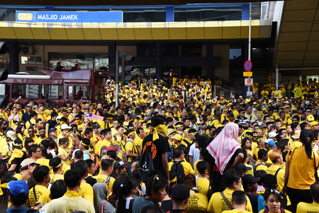 electoral system: Kuala Lumpur, Malaysia - November 19, 2016 - Rally goers gather outside Masjid Jamek during the Bersih 5 rally to call for a new and cleaner electoral system in Malaysia.